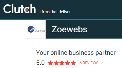 Zoewebs 5 stars rating on Clutch